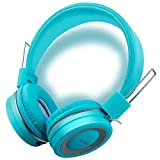 Kids Headphones with Microphone, Wired On-Ear Headsets with Safe Volume Limited 90dB, Foldable Durable Earphones for Boys/Girls/Toddlers/Children/School/Travel/Plane-(Hollywood Blues)