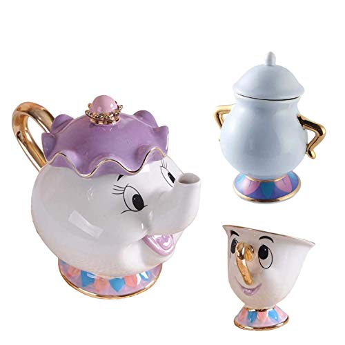 La Bella E La Bestia Mrs Potts Ceramica con Placcatura in Oro Teiera Un Set, Teacup One Set, Tea Set Figurine, Un Buon Regalo per Gli Amici 1pentola + 1 Tazza + 1 zuccheriera