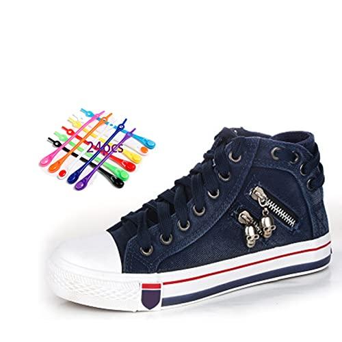 OYGBHGT Zapatos De Lona Mezclilla para Mujer, Damas Ligeras CráNeo Alto Encaje Cordones Casuales CóModos Caminar Planos, Adolescentes Patineta Diaria con Cremallera Cremallera, -24 Pcs Lazs Shoeles