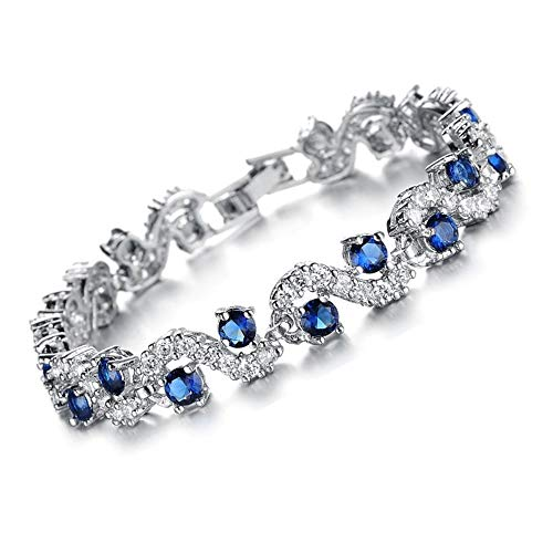 Feraco Blue Tennis Bracelet Women Cubic Zirconia Sapphire Jewelry Bridal Crystal Bangle for Mom and Daughter,7.48 inch