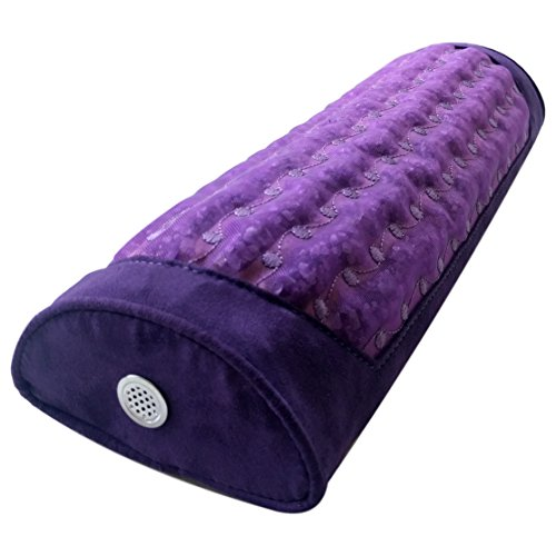 MediCrystal Purple Amethyst Mini Pillow - Hard D-Shape Half-Roll Bolster - Non Electric - Natural Crystals Emit FIR Rays & Negative Ions - Use Under Knee or Neck - Firm Cervical Support - Purple