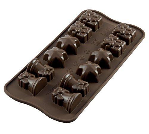 Silikomart 22.106.77.0065 SCG06 Moule pour Chocolat Thème Noël 12 Cavités Silicone Marron
