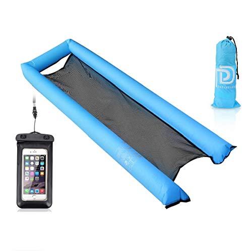 Laelr Hamaca de agua inflable, flotador de piscina en forma de U Lilos, portátil, soporta 400 libras (200 kg) presión para adultos y niños, con bolsa de aire flotante impermeable para teléfono móvil