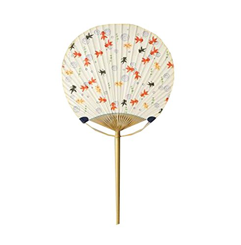 Black Temptation Elegante Abanico de Mano Redondo de bambú de Estilo japonés para Mujer - Gifts/Decor, M