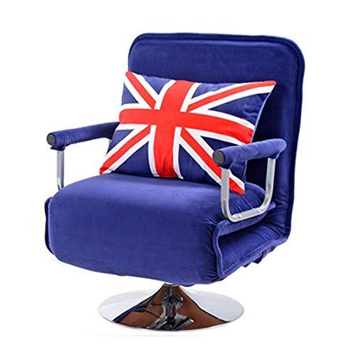ZGYZ Sofá Cama Giratorio, sillón reclinable Ajustable de 5 Posiciones, sillón Cama Acolchado Completo, sillón Cama Plegable, Estructura de Metal con Funda de reposabrazos Desmontable con Pastilla