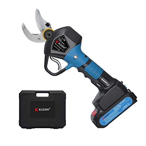 K KLEZHI Professional Cordless Electric Pruning Shears with 2 PCS Backup Rechargeable 2Ah Lithium...