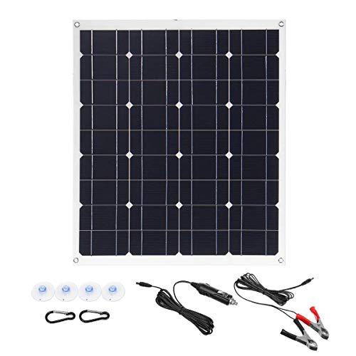 Fengbingl Solar Ladegerät 50W 620x540mm Einzel USB 12V 5V Solar-Panel mit Kabel (Farbe : Schwarz, Größe : 5V)
