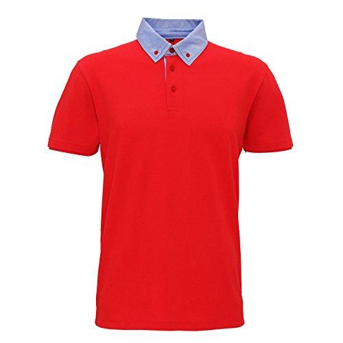 Asquith & Fox Mens Chambray Button Down Collar Polo (L) (Red/Denim)