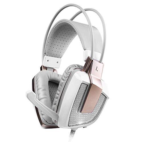 HWZDQLK Casque de Jeu - Casque d'écoute Supra-auriculaire stéréo Confortable avec lumière LED, Vibration Intelligente et Microphone réglable