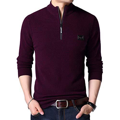 Suéter De Lana para Hombre 100% Lana Color Sólido Stand Collar De Manga Larga Cremallera De Punto Suéter Top Blusa,Rojo,M