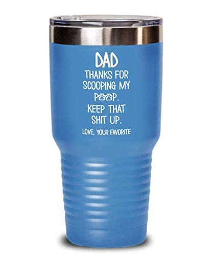 Cat Dad Tumbler Thanks For Scooping My Poop Keep That Shit Up Funny Travel Mug 20 or 30 oz Powder Coated Stainless Steel Insulated Cup for MenTravel M