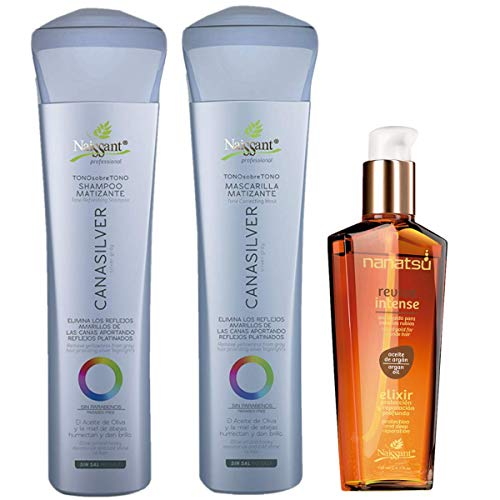 Naissant Set No Yellow Shampoo , Treatment Mask and Argan Oil. Color Care,Hair Intensifier and Damage Repair. Without Salt and Parabens for Blonde Hair (Silver Gray,Cana Silver).