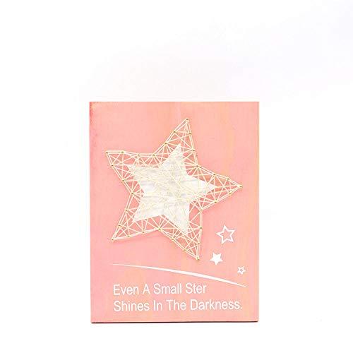 Houten wandplanken tekening kinderkamer decoratie muurschilderingen string zijde schilderij roze sterren