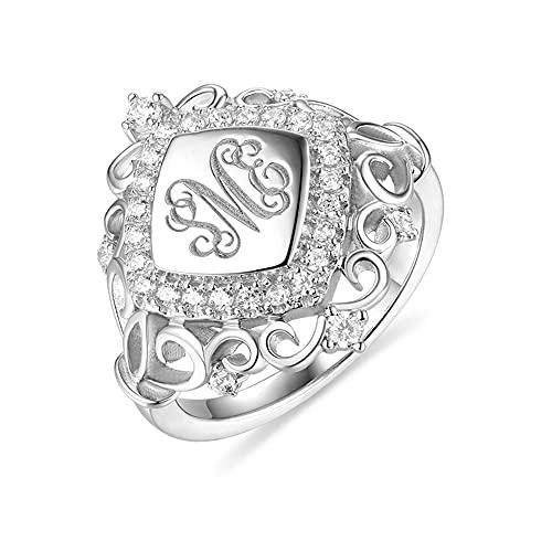 Anillo de plata de ley 925 con 3 iniciales de plata de ley 925, anillos de compromiso personalizados, anillos de compromiso, diamantes, redondos, flores, corazón, regalo para el día de la madre,