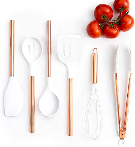 White Silicone and Copper Cooking Utensils for Modern Cooking and Serving, Stainless Steel Copper Serving Utensils Ideal Spatulas for Non Stick Cookware…