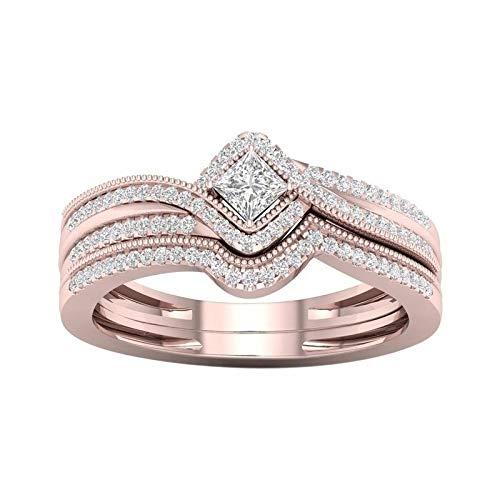 LINYIN 2pcs Micro-Inlaid Zircon Square Princess Ring Simulazione Anello di Fidanzamento Diamante Donne Creative Lega Party Ring 10号 Rose Gold