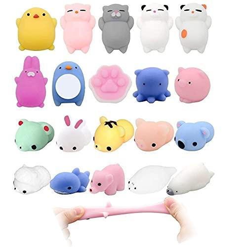 Pppby Kawaii Set 5 Stück Mini Niedliches Animal Mochi Squeeze Toys Mochi Zappeln Handspielzeug Stress Relief Spielzeug langsame Rising Toys Fidget Toy Mochi für Jungen und Mädchen