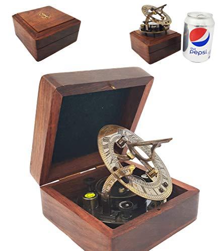 Den nya antika butiken – 7,62 cm handgjord soldatkompass i presentask solskydd klocka navigering