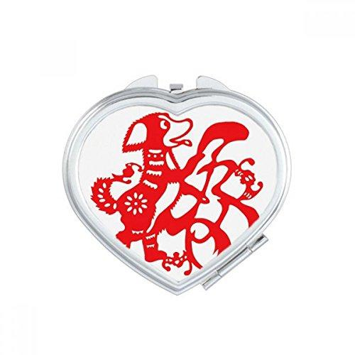 DIYthinker 2018 Rode Hond Papier Snijden Gelukkig Nieuwjaar Hart Compact Make-up Spiegel Draagbare Leuke Hand Pocket Spiegels Gift
