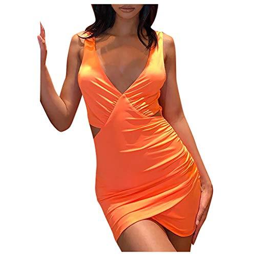Sonojie Fashion Damen V-Ausschnitt Ärmel Sexy Solid Backless Short Mini Enge Passform Schlank Figurbetontes Kleid Für Nachtclub Party Cocktail