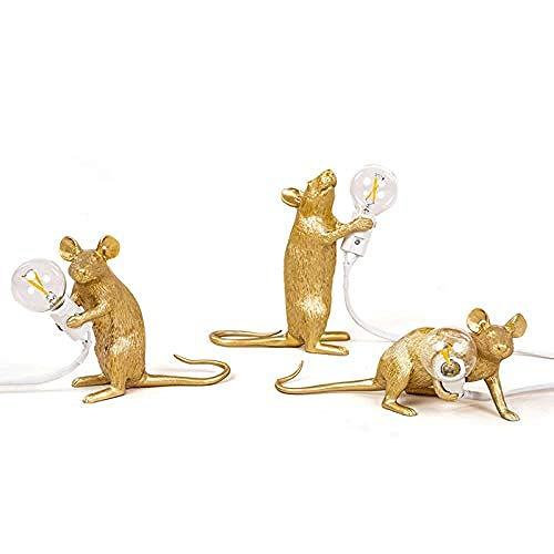 3pcs Gold Resin Maus Lampe Schreibtisch Lampen Modern Harz Tischleuchten Harz Rat Mouse Lampe Maus Led Tisch Lampled Schreibtischlampe Wohnkultur Schreibtisch Lichter mit Lampe Schreibtisch