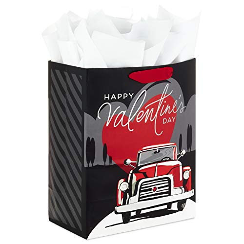Hallmark 13' Large Valentines Gift Bag with Tissue Paper (Black, Gray and Red Vintage Truck) for Husband, Boyfriend, Fiancé