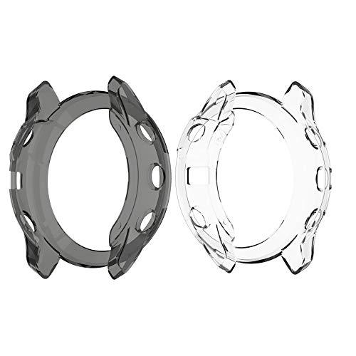 RuenTech Kompatibel mit Garmin Fenix 6X Pro/Fenix 6X Sapphire/Fenix 6X Pro Solar Schutzhülle Schutzfolie Hülle Sanft TPU Shell Schut Anti-Scratch (schwarz+klar)