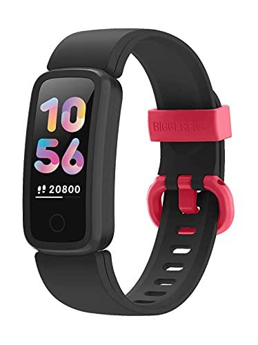 BIGGERFIVE Fitness Armband Uhr für Kinder Mädchen Junge Teenager, Fitness Tracker Smartwatch mit Schrittzähler Pulsuhr Kalorienzähler und Schlafmonitor, IP68 Wasserdicht Aktivitätstracker