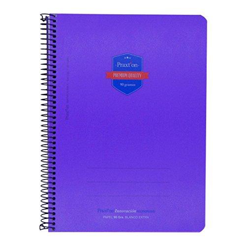 Cuaderno Espiral PRAXTON Premium Morado, Folio 80H Cuadros 4 mm. Tapa Plástico