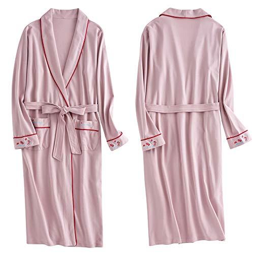DOUDOU Nachtjapon Vrouwen Dunne Sectie Lange Maat Katoen Lente En Herfst Lange mouwen Katoen Dames Badjas Pyjama Geïntegreerde Vrouwelijke