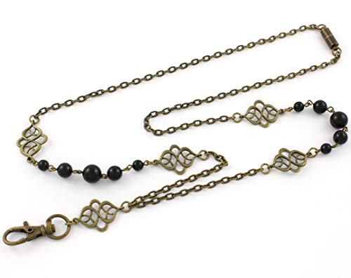 Brenda Elaine Jewelry Non-Tarnishing Women's Fashion Lanyard Necklace ID Badge Holder, 32 Inch Antique Brass Chain and Celtic Accents with Black Color Pearls & Rear Magnetic Clasp