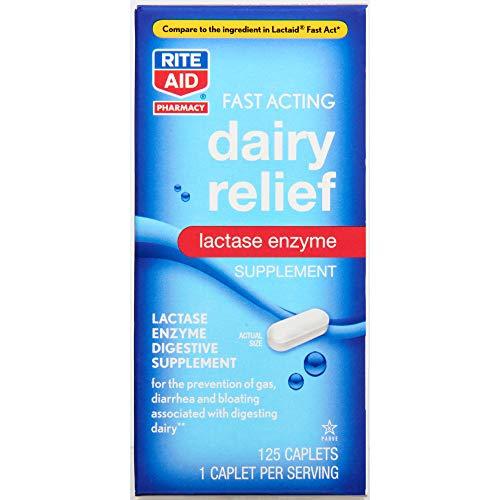 Rite Aid Fast Acting Dairy Relief Lactase Enzyme - 125 Caplets   Lactase Enzyme Supplement   Lactose Intolerance Pills   Dairy Relief Pills   Digestive Enzyme Supplements   Digestive Enzymes