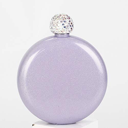 Petacas De Alcohol Portátil de acero inoxidable vino whisky frasco de alcohol Ronda de regalos Botella de dama de cadera creativo cristal frasco de tapa for vino Petacas (Color : Purple)