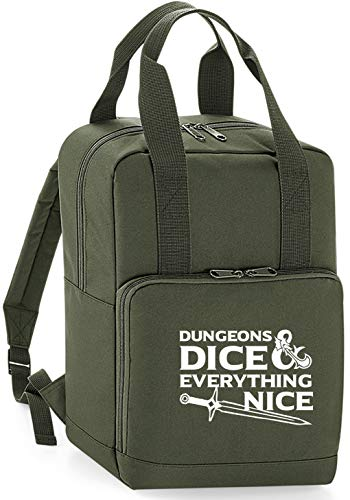HippoWarehouse Dungeons & dice & Everything Nice Premium Twin Handle Backpack School College Bag 28 x 38 x 12cm 14 litres