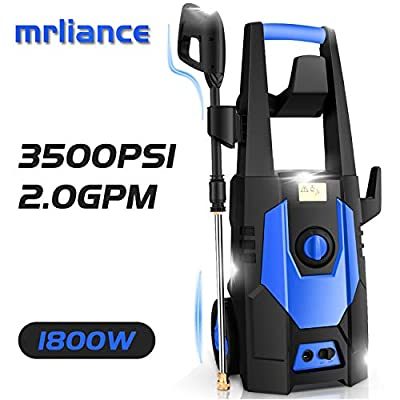 mrliance 3500PSI Electric Pressure Washer, 2.0GPM Electric Power Washer High Pressure Washer with Spray Gun, Brush, and 4 Quick-Connect Spray Tips (Blue)