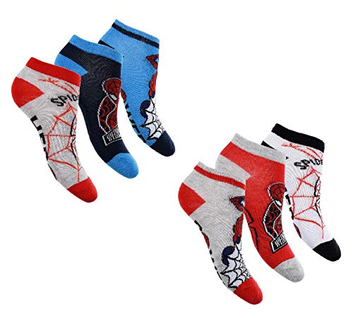 Jungen Sneaker Socken Kinder Füßlinge Spiderman 6 Paar 23-26 / mehrfarbig