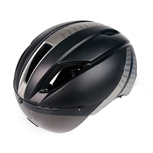 YSH Casco De Bicicleta MTB Ciclismo para Hombres Mujeres Deportes Casquillo De Forma Segura Bicicleta De Montaña Fuera De Carretera Lentes Gafas EPS + PC,Gray
