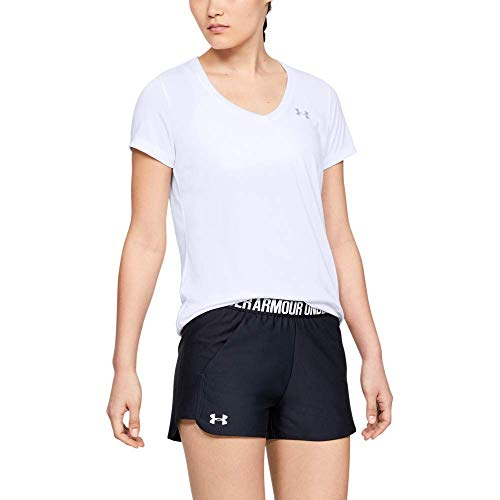 Under Armour Tech Short Sleeve V-Solid Camiseta, Mujer, Blanco (White/Metallic Silver), L