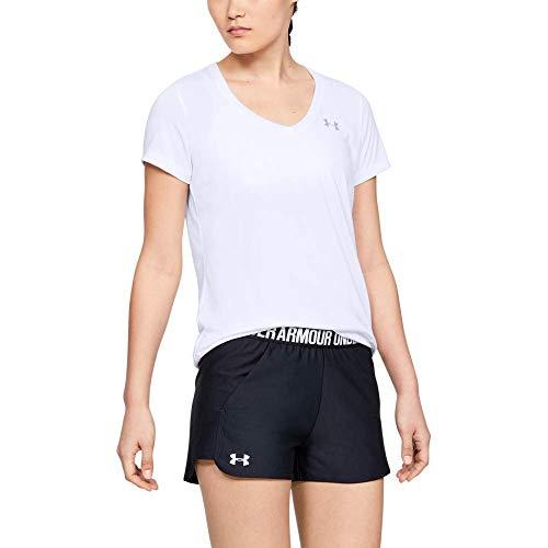 Under Armour Tech Short Sleeve V-Solid Camiseta, Mujer, Blanco (White/Metallic Silver), XL