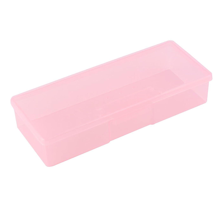 uxcell マニキュアペン収納ケース ペン収納ボックスケース 長方形のデザイン クリア サロンプラスチック ピンク