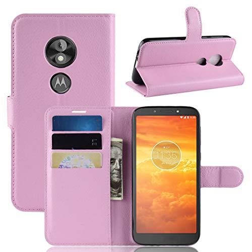 LMFULM® Hülle für Motorola Moto E5 Play (5.3 Zoll) [Fit UK Version only] PU Leder Magnet Brieftasche Lederhülle Handytasche Litschi Muster Standfunktion Ledertasche Flip Cover Rose