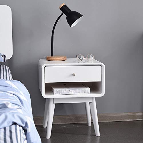 HJKH Bedside Cabinet Wooden Nightstand Cabinet Storage Bedside Cabinet Bedroom Bedside Table Drawer Bedside Cabinet, (Color : White, Size : 35x43x54.5cm)