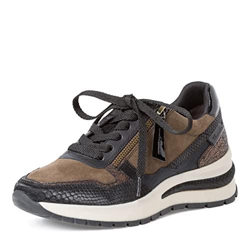 Tamaris Damen Sneaker, Frauen Low-Top Sneaker,lose Einlage,Comfort Lining,Keilabsatz,Halbschuhe,straßenschuhe,Sportschuhe,Olive Comb,37 EU / 4 UK