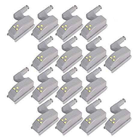 COSORO, 16 sensori con luce a LED per cerniere ante, luci notturne per guardaroba, soggiorno, camera da letto, armadio, cucina, bianco caldo