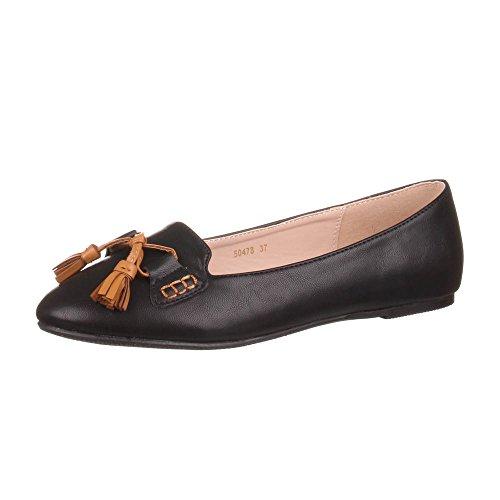 Ital-Design Damen Schuhe, 50478, Ballerinas, Schleifen DEKO Halbschuh, Synthetik in hochwertiger Lederoptik, Schwarz, Gr 40