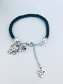 Bracciale nero con ciondolo gatto, gioiello, gioielli, bracciali, bracciale donna, bracciale nero, bracciale gatto, gioiel...