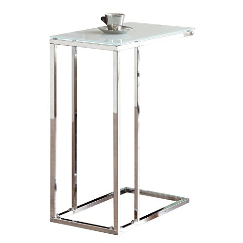 Glass Top Snack Table Chrome and White