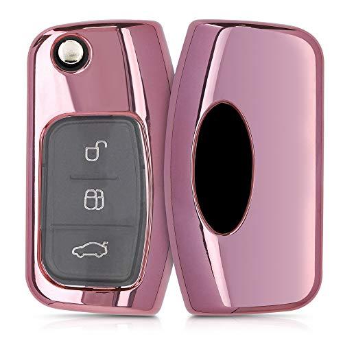 kwmobile Funda Compatible con Ford Llave de Coche Plegable de 3 Botones - Carcasa Suave de TPU - Cover de Mando y Control de Auto en Rosa Oro Brillante