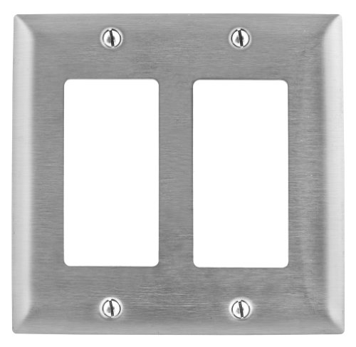 Bryant Electric SS262L Metallic Wallplate, 2-Gang, 2 Decorator/GFCI Openings, 430, StainlessSteel, With Removable White Protective Film