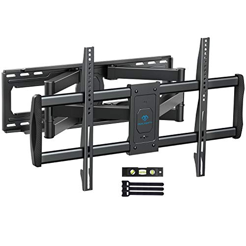 PERLESMITH TV Wall Mount Bracket Full Motion, Tilts, Swivels for most 50-90 Inch LED LCD OLED Flat Screen Plasma TVs with Dual Articulating Arms, Holds up to 165lbs VESA 800x400mm Max Stud Spacing 24'